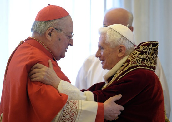 Cardinal Soldano and Pope Benedict XVI the day he announced his resignation :'(